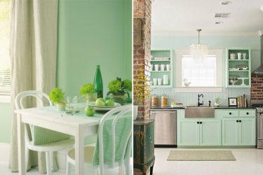 Мятная кухня какие обои подойдут?