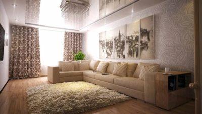 Светлая мебель в гостиной какие обои выбрать?