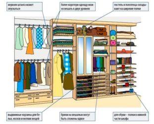 Как распределить вещи в шкафу купе?
